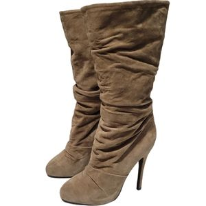 Aldo Tan Camel Suede Slouch Boots Size 38